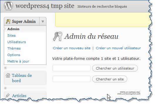 WordPress Multisites Tableau de bord Super Admin