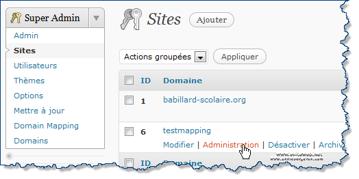 Wordpress Multisite administration du site