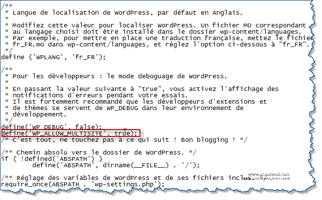 WordPress multisites modification du fichier wp-config.php