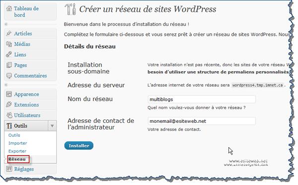 WordPress Mulitisites configuration du réseau