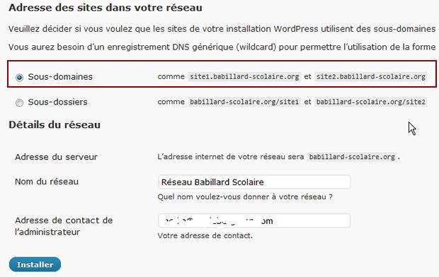 WordPress multisites activer sous-domaine