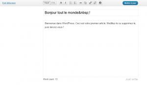 WordpPress 3.2 éditeur plein écran sans distraction