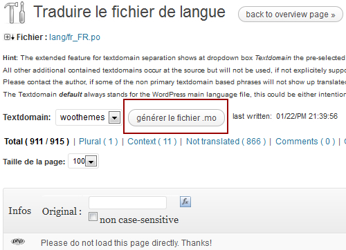 Codestyling Localization générer le fichier .mo