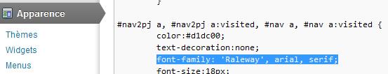 Code Google fonts Web appliqué à la balise #nav a